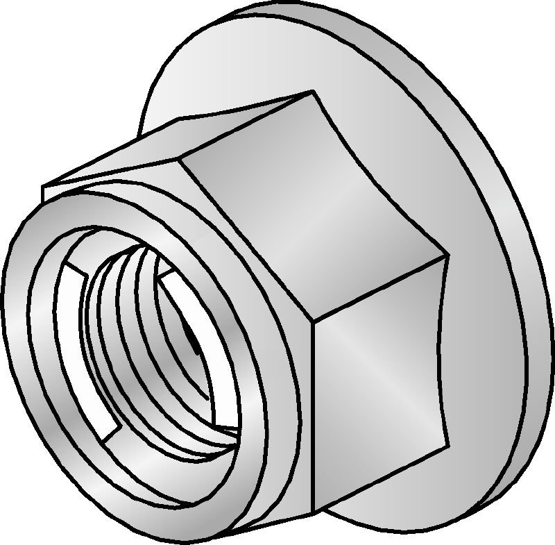 M10-SL OC Hot-dip galvanized (HDG) prevailing torque hexagon nut with self-locking mechanism for use outdoors
