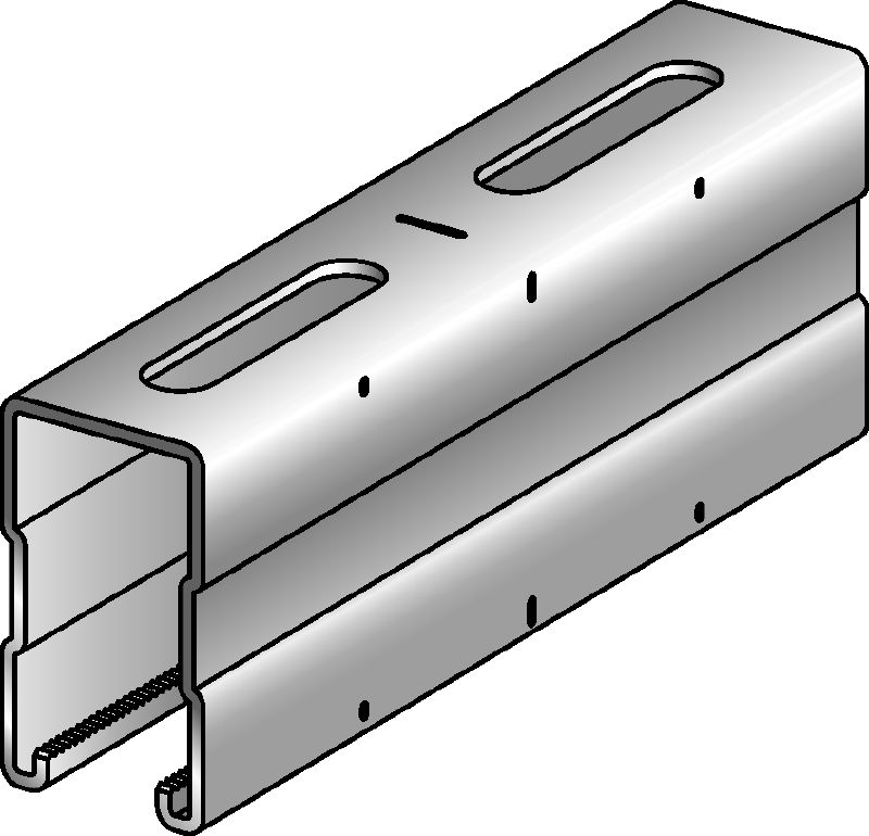 MQ-72 Galvanized 72 mm high MQ strut channel for medium/heavy-duty applications