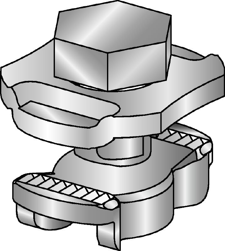 MQN-HDG plus Hot-dip galvanized (HDG) channel connector for joining any elements with a butterfly opening