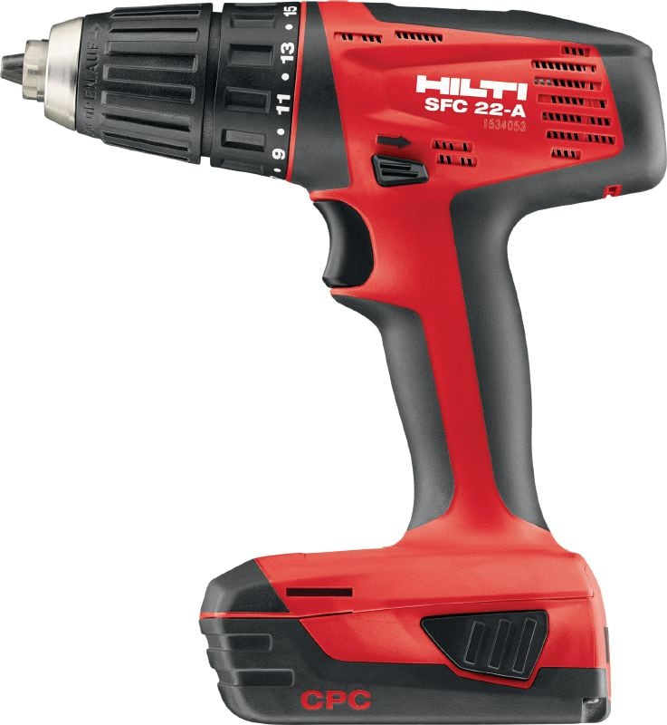 SFC 22-A Compact cordless 22V drill driver operated by Li-ion battery with 13 mm keyless chuck for light- and medium-duty applications